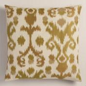 Green Ikat Jacquard Throw Pillow