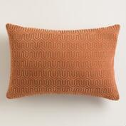 Rust Orange Geo Chenille Lumbar Pillow