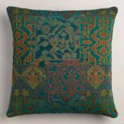 Blue and Green Marrakesh Jacquard Throw Pillow