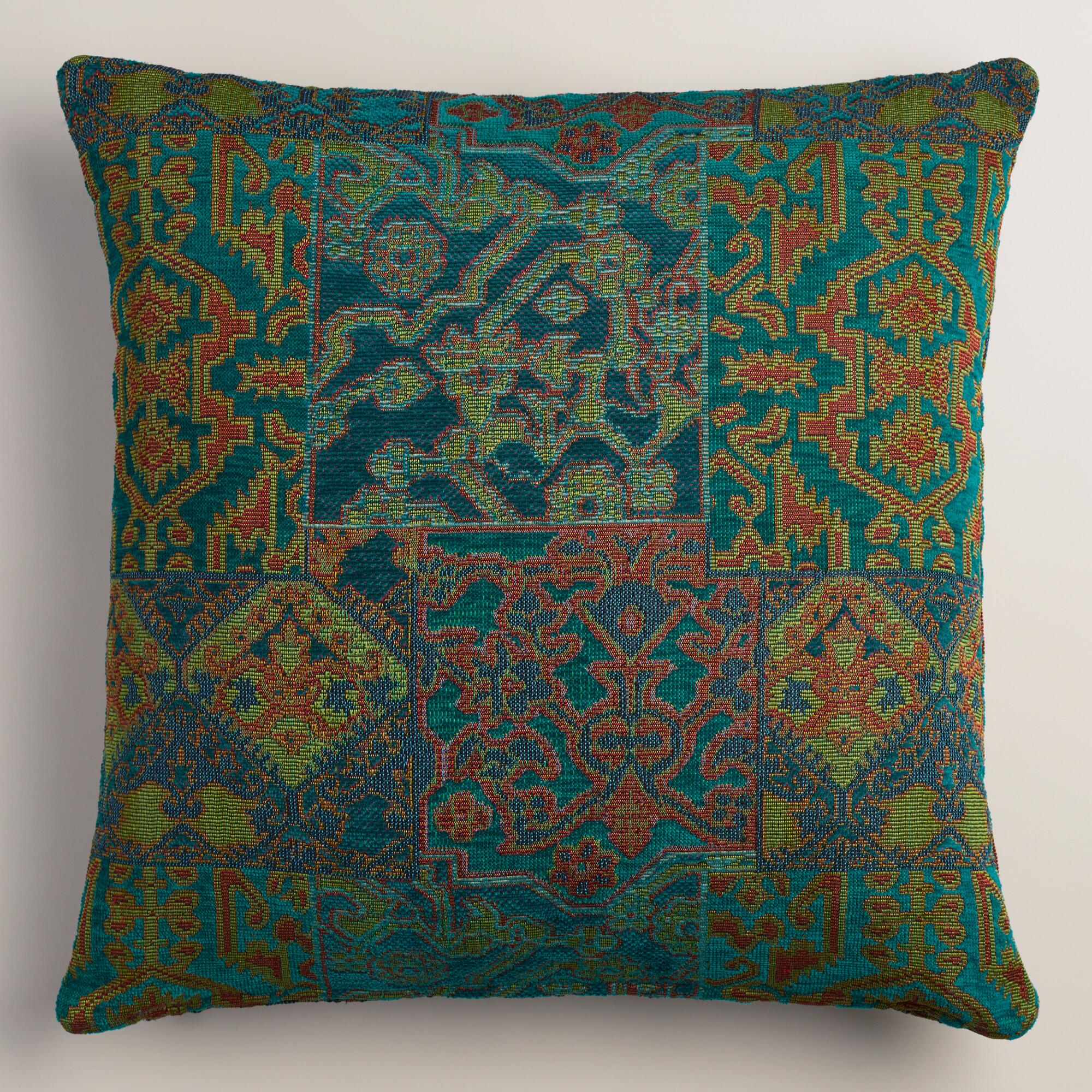 Blue and Green Marrakesh Jacquard Throw Pillow World Market