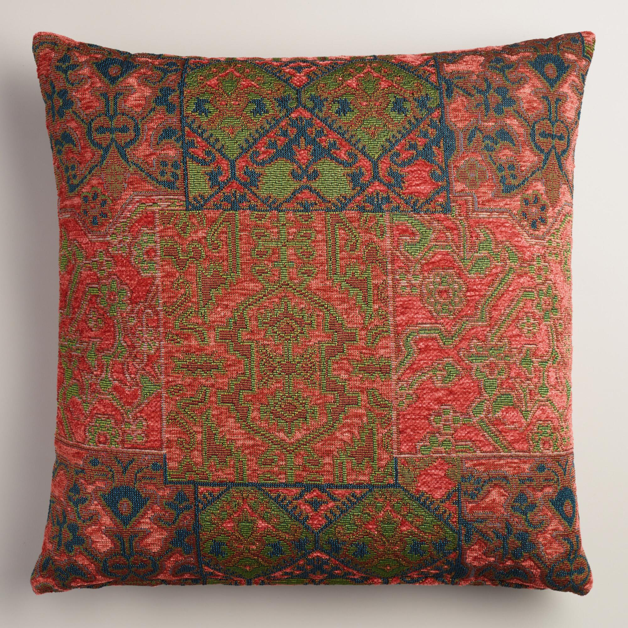Orange and Red Marrakesh Jacquard Throw Pillow World Market