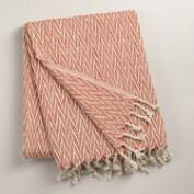 Orange Chevron Weave Throw