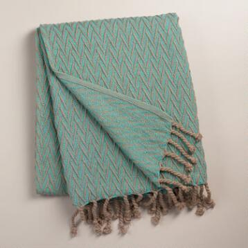 Aqua Blue Chevron Weave Throw