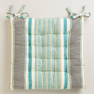 Cool-Toned Striped Chair Cushion