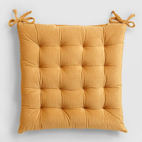 Amber Gold Velvet Chair Cushion