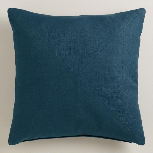 Royal blue herringbone cotton throw pillow world market for Royal blue couch pillows