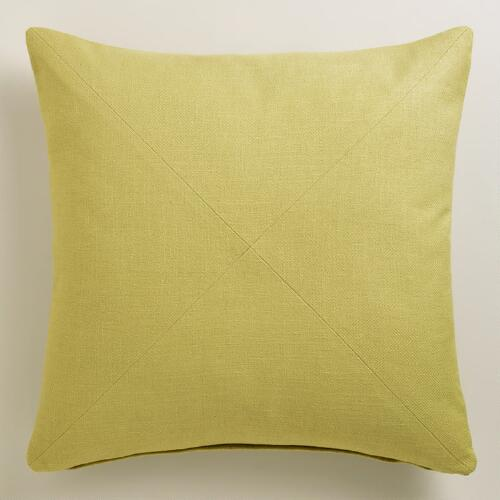 Willow Green Herringbone Cotton Throw Pillow