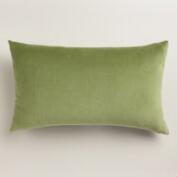 Iguana Green Velvet Lumbar Pillow