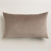 Walnut Taupe Velvet Lumbar Pillow
