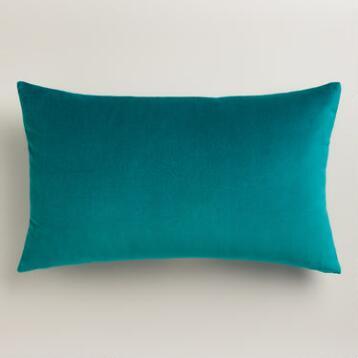 Everglade Green Velvet Lumbar Pillow