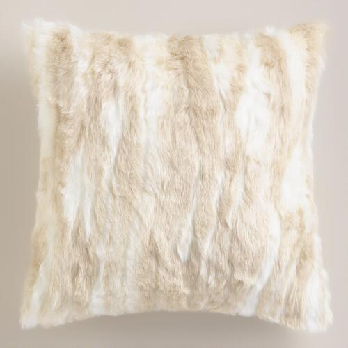 Ivory Faux Fur Throw Pillow