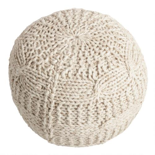 taupe heather sweater pouf world market. Black Bedroom Furniture Sets. Home Design Ideas