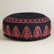 Black and Pink Embroidered Pouf