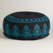 Black and Blue Embroidered Pouf