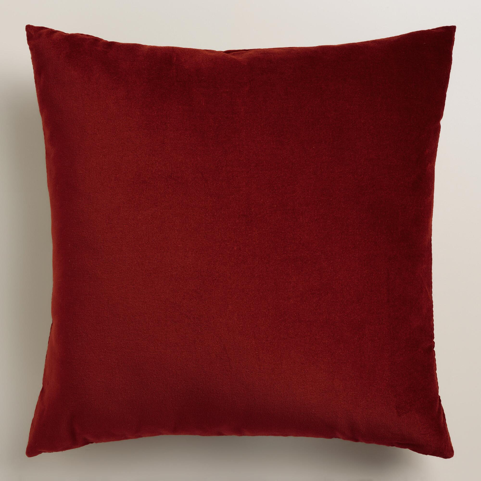 Red Throw Pillows For Bed : Classic Red Velvet Throw Pillow World Market