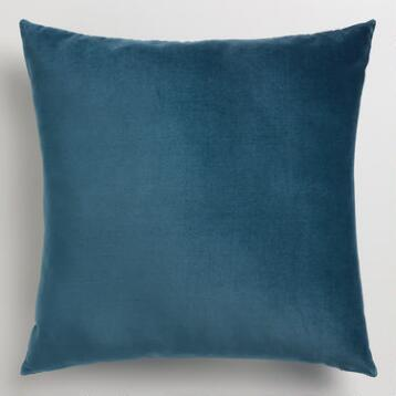 Midnight Blue Velvet Throw Pillow