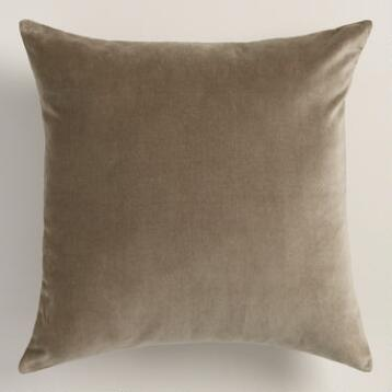 Walnut Taupe Velvet Throw Pillow