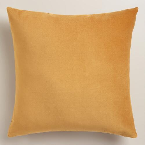 Amber Gold Velvet Throw Pillow