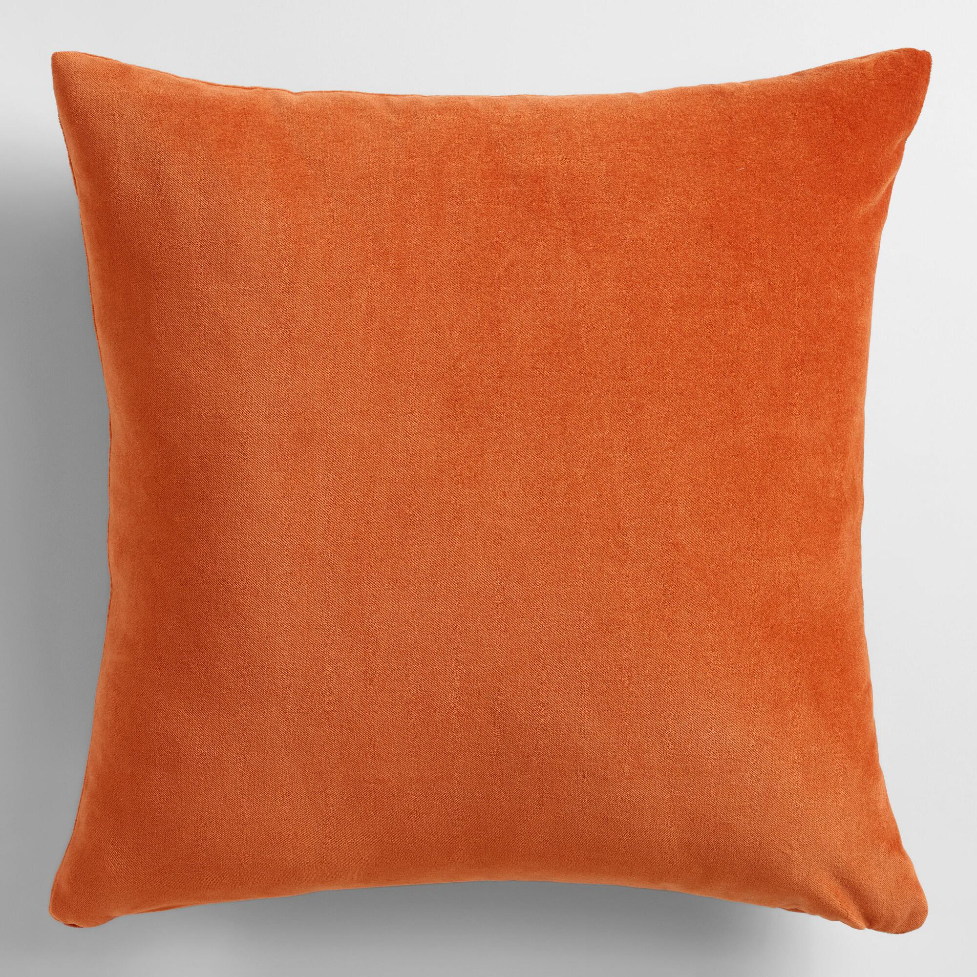 Throw Pillows With Orange : Rooibos Orange Velvet Throw Pillow World Market