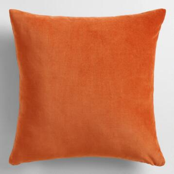 Spicy Orange Velvet Throw Pillow
