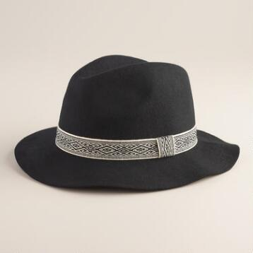Black and White Jacquard Band Fedora Hat