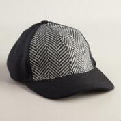 Tweed Herringbone Ball Cap Hat