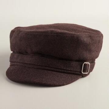 Brown Newsboy with Buckle Hat