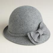Gray Wool Cloche with Bow Hat