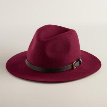 Wine Wool Fedora with Faux Leather Band