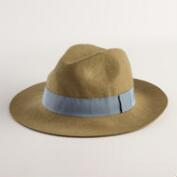 Olive Green Wool Fedora with Gray Ribbon Band