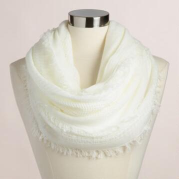 Ivory Woven Infinity  Scarf with Fringe