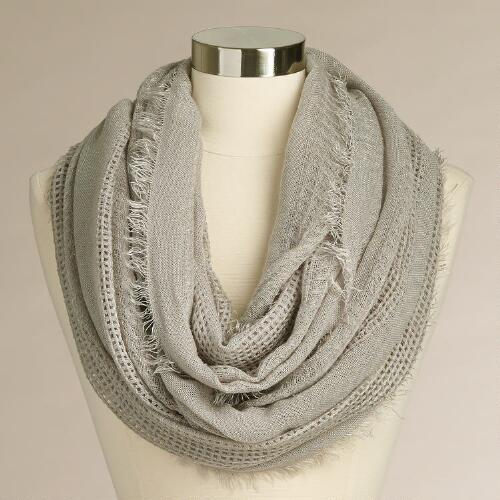 Gray Woven Infinity Scarf with Fringe