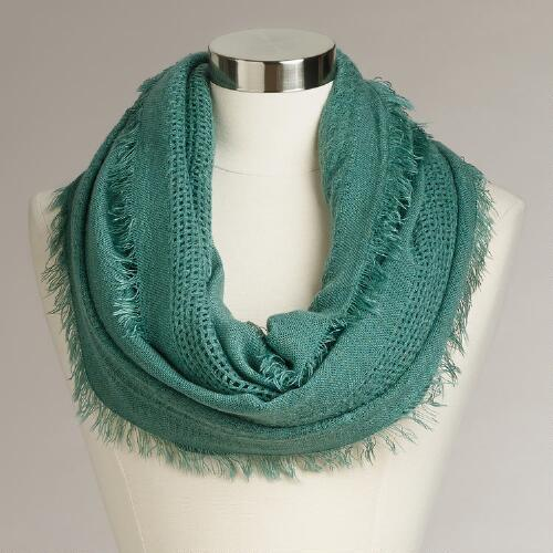Green Woven Infinity Scarf with Fringe