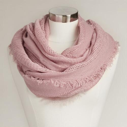 Lavender Woven Infinity Scarf with Fringe