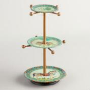 Indian Print Metal 3-Tier Jewelry Stand with Knobs