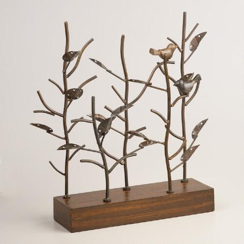 Antique Bronze Metal and Wood Tree Jewelry Stand