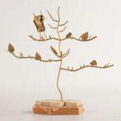Gold Metal and Wood Tree Jewelry Stand with Owl