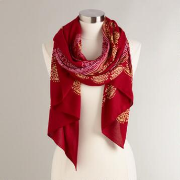 Red Prayer Shawl with Gold and Pink Border