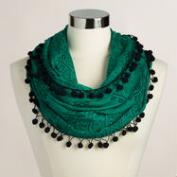 Green Prayer Shawl with Pompoms