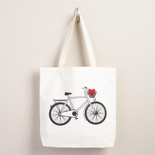 Bicycle Heart Tote Bag