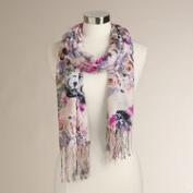 Lavender and Fuchsia Roses Scarf