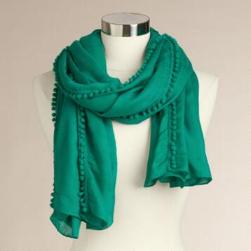 Wide Green Scarf with Pompoms