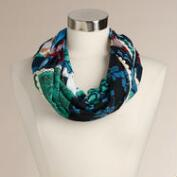 Blue and Green Crochet Patchwork Infinity Scarf