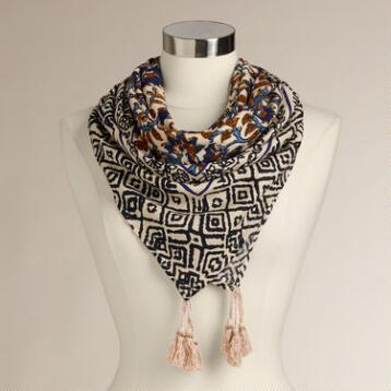 Cream Floral Square Scarf with Black Tassels
