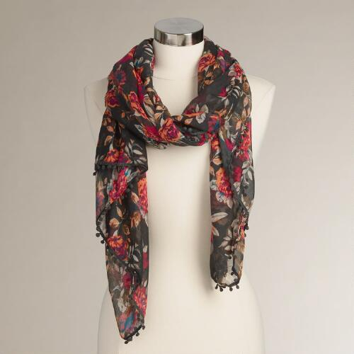 Mocha Floral Infinity Scarf with Pompoms