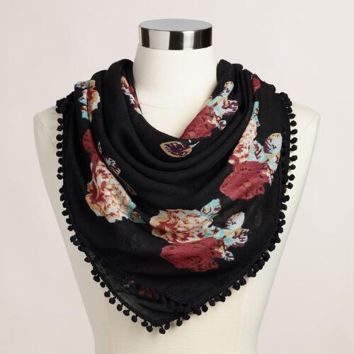 Black Floral Square Scarf with Pompoms