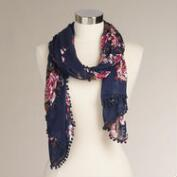 Navy and Red Floral Infinity Scarf with Pompoms