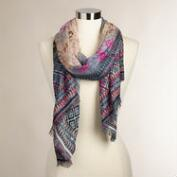 Floral Geometric Scarf with Jacquard Border
