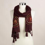 Plum Embroidered Scarf with Tassels