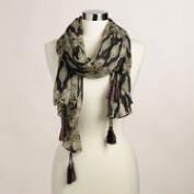 Black and Taupe Tribal Scarf with Tassels